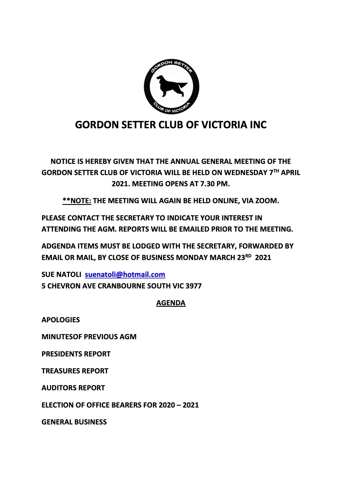 2021 AGM NOTIFICATION GORDON SETTER CLUB OF VICTORIA INC
