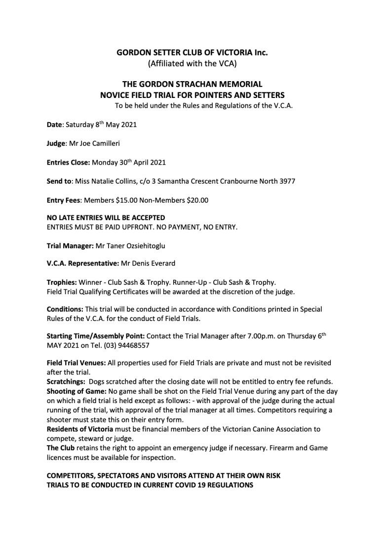 2021 Schedule - Field-Trial-NOVICE